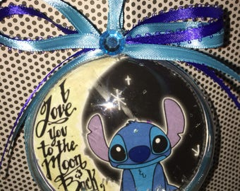 I love you to the moon n back Disney stitch ornament