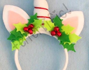 Handmade Felt Holiday Unicorn Headband RTS