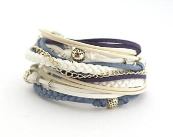 Denim White Navy Wrap Bracelet, Blue White Bohemian Jewelry, Summer Wedding, summer trends, gift for her