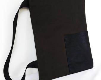 Single Shoulder Pack One Arm Back Pack Shoulder Bag Shoulder Pack  Black Waxed Cotton Recycled Leather Modern Minimalist Unisex