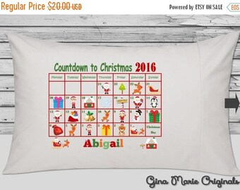 SALE Personalized Santa Sleigh Reindeer Elves North Pole Countdown to Christmas Pillow Case Pillowcase Boy Girl Baby Toddler Kids Children