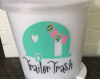 Trailer trash decal - trailer decal - travel trailer decor - trailer trash - trailer - camper decor- rv decor - camper trash can- rv trash