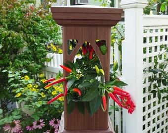 Planter hanging,PVC planter, PVC lantern, woodgrain hanging planter, Gothic design, low maintenance, everlasting, Made in USA. One of a kind