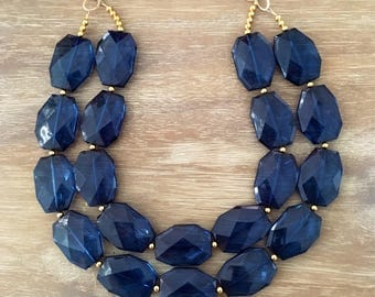 CLASSIC SAPPHIRE NECKLACE Statement Jewlery Blue Necklace Bridesmaid Jewlery Sapphire Jewelry Navy Necklace