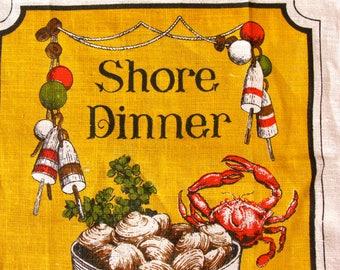 Vintage Tea Towel Shore Dinner Lobster Crab Mint Condition
