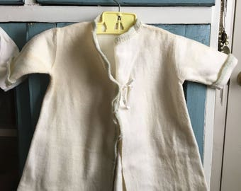 1950s flannel robe 12 months/  vintage flannel robes/ vintage baby clothes