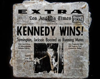 Kennedy elected news story coaster set. **Ask for free gift wrapping and have them sent directly to the recipient!**