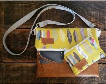 Get the matching set and save! Linen yellow feathers print/Montana Patch/Foldover Crossbody and matching coin purse