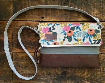 Crossbody/Linen floral print/Montana Patch/Foldover Crossbody/vegan leather/White zipper/Montana patch bags
