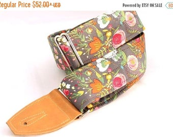 ON SALE this week only Guitar Strap in Botanical Garden with Caramel Leather Ends and Pick Pouch