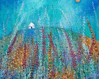 Foxglove Fields, Original acrylic canvas painting, landscape painting, original art