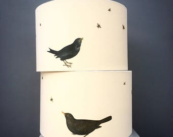 Blackbird and bee lampshade - Kettle of Fish Designs - drum lampshade