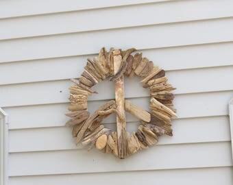 """Driftwood Peace Sign """"Cool Cod"""" 20"""" in Diameter Indoor/Outdoor"""