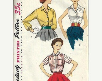 ON SALE 1950's Ladies Blouse Pattern, Simplicity 4256, Size 14, bust 32