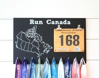 Run Canada Medal Holder, Canada Medal Rack with Bib Holder