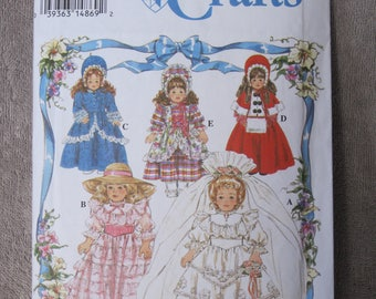 "16"" and 18"" Doll Clothes, Simplicity 8766, ensembles for wedding, southern belle, colonial dress, Victorian caroler and Bo Peep, accessories"