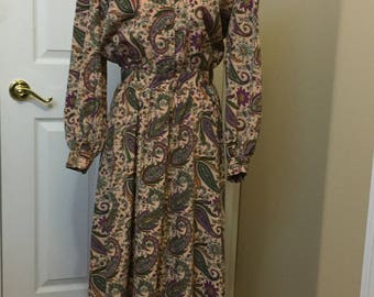 Vintage Sam Noah dress size 12 paisley floral dress FREE SHIPPING!!!