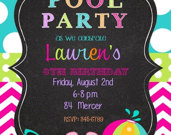 25 Pool Party invitations with envelopes-swim paty- swimming party-chalk- chalkboard- any colors
