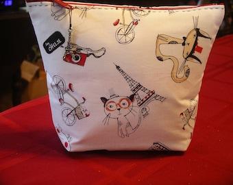 Cats in Paris Make Up Bag