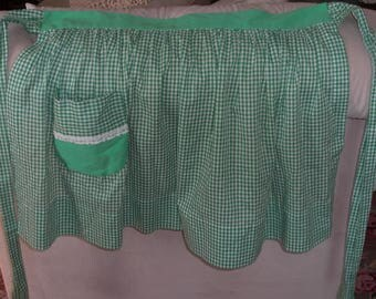 Vintage Green White Gingham Check Half Apron