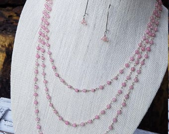 Three Pink Beaded Strands Necklace with Flower Drop Earring Set