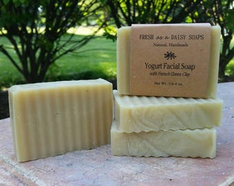 Yogurt Facial Soap with Green Clay for Dry Skin, Organic, All Natural