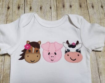 Made to Order - Personalized Horse Pig Cow Appliqué Shirt - Multiple Sizes, Bodysuit