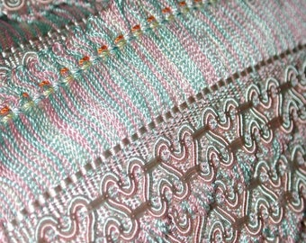 """No. 700 Vintage Silk Houle Passementerie, Approx 20 Yards in 4 Pcs X 1-7/8"""""""