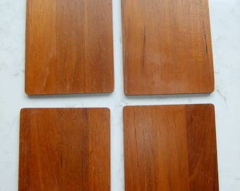 Vintage Swedish set of four Sandwich tiles in teak from the 1960s