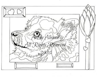 german spitz love dogs digital download coloring books for adults coloring page
