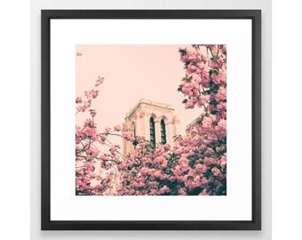 Paris photography, canvas art, Paris canvas, Paris wall art, Paris print, cherry blossom art, blush wall art, pink wall art, canvas art