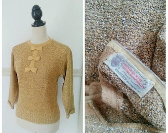 20% OFF / Autumn Street 1940s Golden Rod/Black/White Knit Wool Sweater with Bow Details