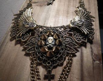 Pentagram cross spikes ♰ 666 Skulls 666 ♰ ormolu lace bib necklace