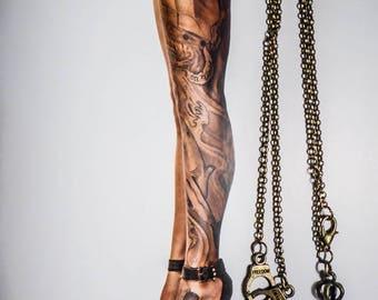 Bronze steampunk pair of handcuffs necklace