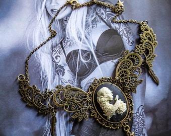 Bib necklace cameo calavera mexican gypsy Bohemian ♠Penelop♠
