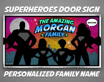 Superheroes Front Door Sign,Family Name Sign,Personalized sign,Welcome Sign,door sign,family sign,superman,comics,housewarming gift ideas
