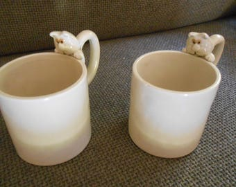 2 Fitz and  Floyd 1977  cat and fish mugs