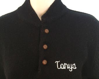 80's vintage sweater size medium large black pullover Tanya embroidered