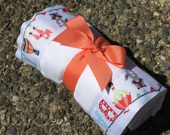 Burp Cloth / Changing Pad: Baby Baby Wildlife and Hot Air Balloons, Personalization Available