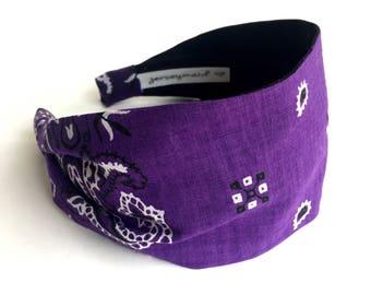 Cute unique purple Vintage cotton bandana made in usa bandana headband recycled repurposed upcycled cute purple hairband