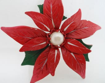 Vintage Red Poinsettia Enamel Metal Christmas Brooch Pin Red Enamel and Pearl Poinsettia Brooch 1960s Christmas Jewelry Holiday Jewelry