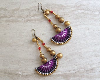 Half Moon Tribal Beaded Drop Earrings Hmong Purple Textile Brass Bead Dangle Earrings