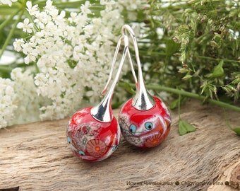 Luxury - earrings artisan lampwork beads red gray murrini