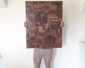 "Walnut Color Field #4; Wood Colorfield Mosaic Wall Art, This Exact Piece, Cedar Border, 48"" x 28"""
