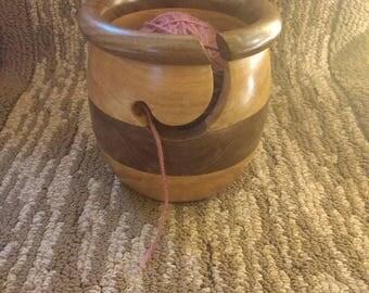 Walnut and Cherry  Wood Yarn Bowl Honey poit style