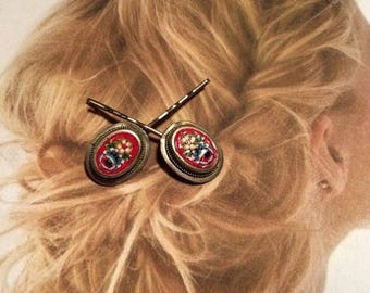 Red Micro Mosaic Decorative Hair Pins Jewelry Decorative Vintage 1930 1940 Hairpins Bobby Pins