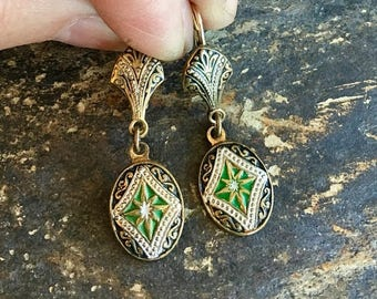 1stDayofSummerSALE Reign Bridal Jewelry Damascene Earrings, Toledo Spain Bohemian Enamel Black Green
