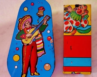 ON SALE Vintage Tin Litho US Metal Toy Mfg Co Noise Makers, 2 Noise Makers, Blue, Yellow, Red, Green, 1950s-1970s, Collectible, New Years Ev