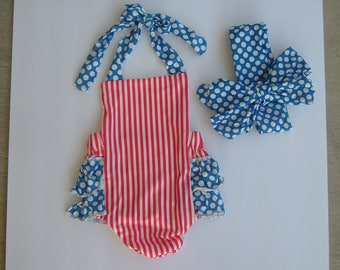 Custom Patriotic, 4th of July red, white, blue Ruffle Infant Girl  Baby Romper with Headband