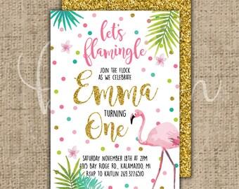 Custom Let's Flamingle Birthday Invitation Printable PDF